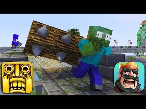 Monster School : TEMPLE RUN vs CLASH ROYALE CHALLENGE - Minecraft animation
