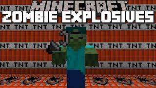 Minecraft ZOMBIE EXPLOSIVES MOD / PLAY WITH MARK THE FRIENDLY ZOMBIE !! Minecraft