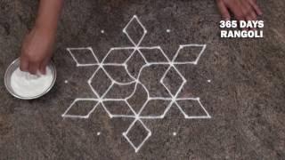 simple rangoli design/ friday rangoli design/ small rangoli design with 7 dots