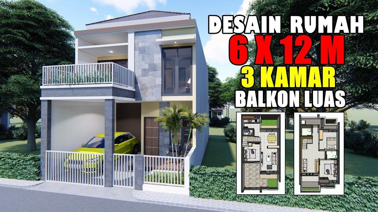 Desain Rumah 6x12 M 2 Lantai 3 Kamar Tidur Dengan Balkon Depan
