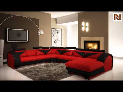Modern Red And Black Leather Sectional Sofa With Headrests Vgev7395