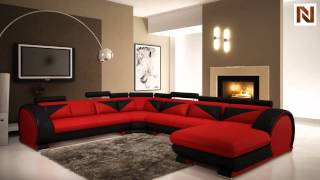 Modern Red And Black Leather Sectional Sofa With Headrests Vgev7395-5 From Vig Furniture
