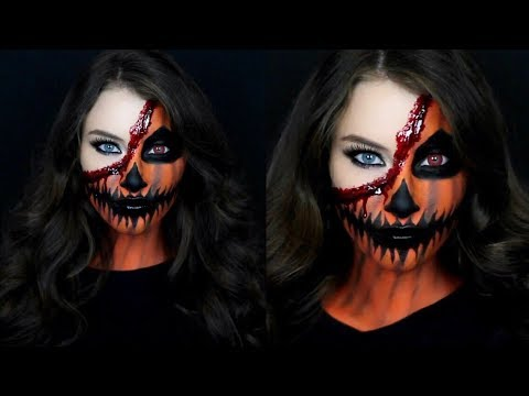 pumpkin face halloween makeup tutorial  youtube