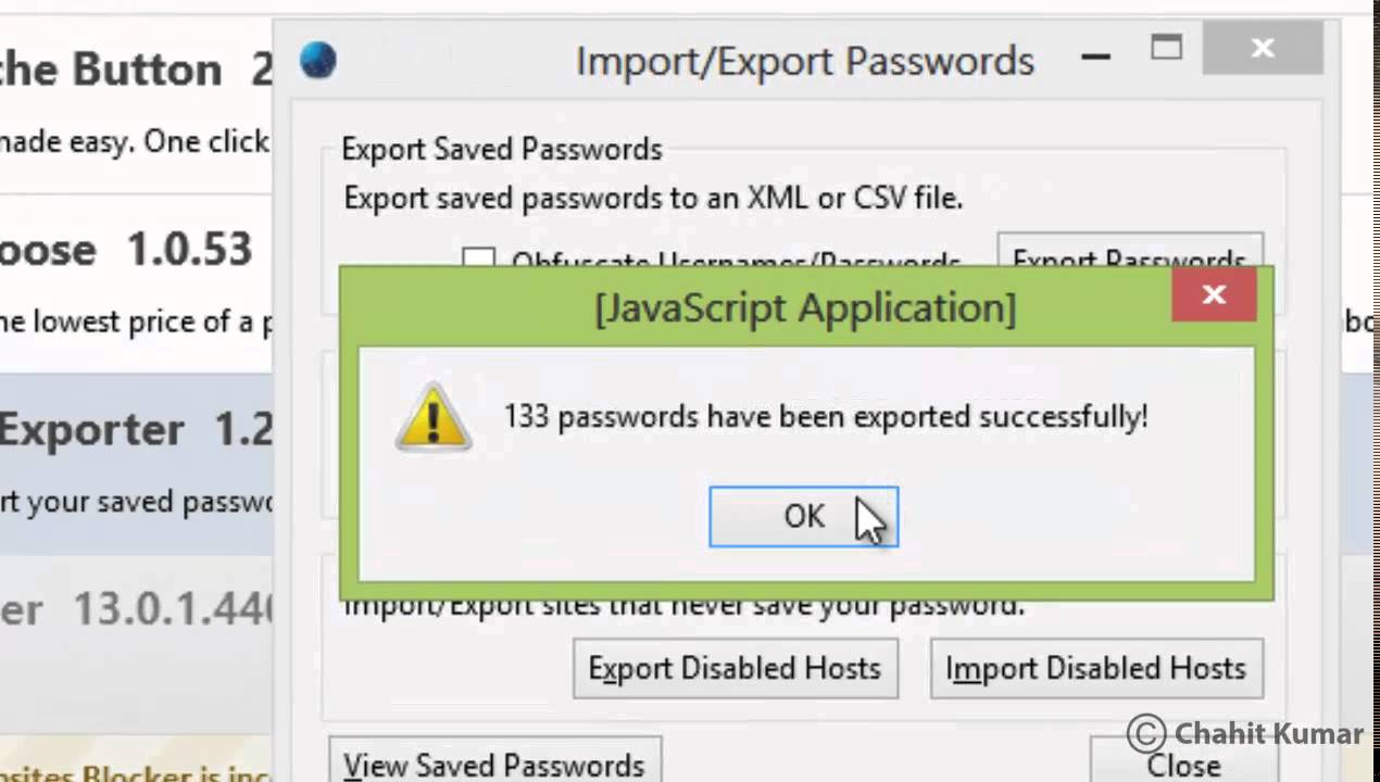 Import or Export Saved Passwords in Mozilla Firefox from / to Excel, CSV