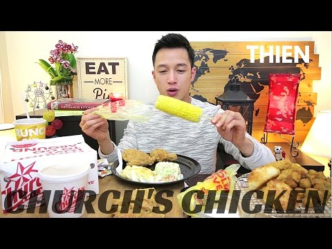 [mukbang with THIEN]: Church's Chicken (Honey Biscuits, Fried Okra, and Jalapeno Cheese Bombers)