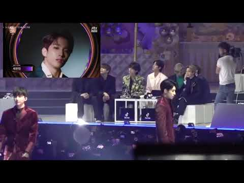 BTS (방탄소년단) Reacts to Seventeen (세븐틴) - Dance, Fear,  Happy Ending - GOLDEN DISK AWARDS 200105