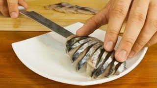 Mackerel Sashimi Made From Whole Fish