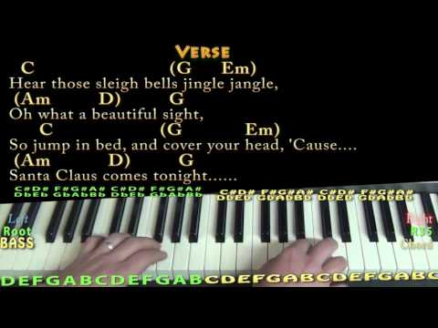 Here Comes Santa Claus (Christmas) Piano Cover Lesson in G with Chords/Lyrics