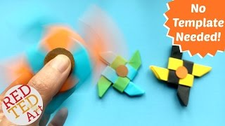 Easy Ninja Fidget Spinner DIY without Bearings - NO TEMPLATE needed - Paper fidget spinner DIY