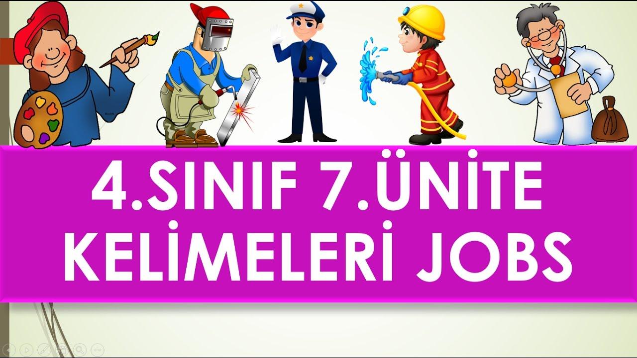 4 Sinif Ingilizce 7 Unite Jobs Kelimeleri Ve Anlamlari Youtube