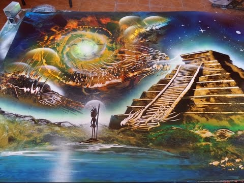 The Four elements spray paint art