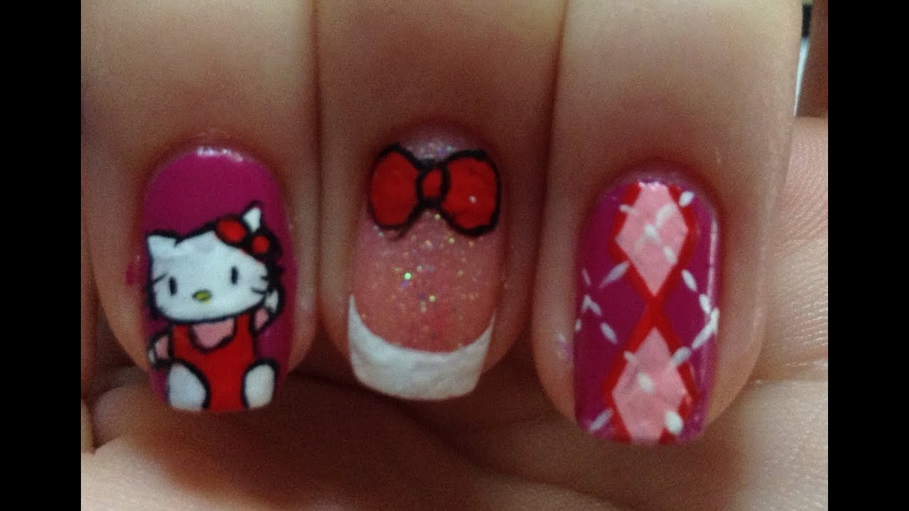 Hello Kitty Nail Art Tutorial (REQUEST) - YouTube