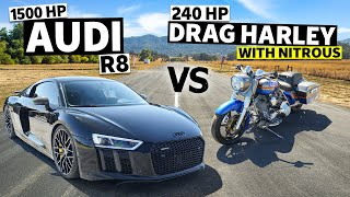 homepage tile video photo for 1,500hp Audi R8 Races a 240hp Harley Drag Bike… With Nitrous! // This vs. That