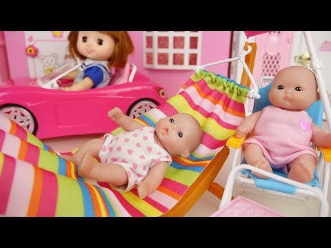 Thumbnail: Picnic Baby doli and pink car toys baby doll hammock chair play