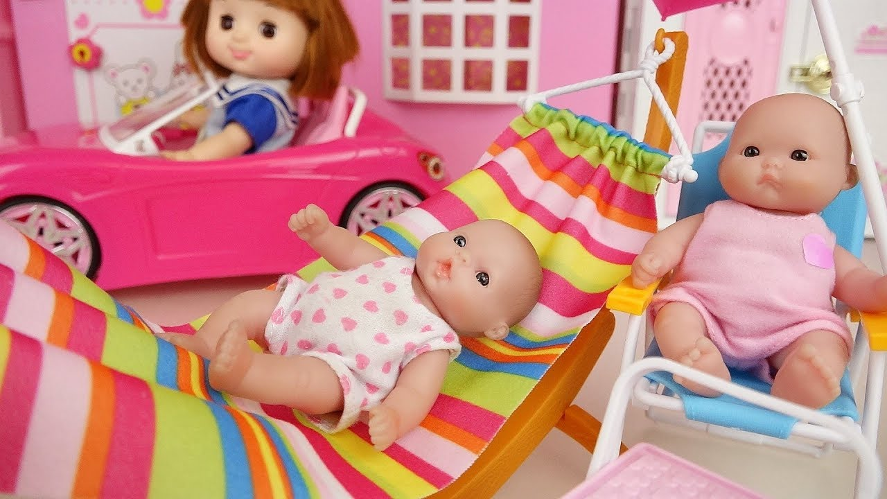 Picnic Baby doli and pink car toys baby doll hammock chair