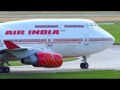 Government of INDIA! Air India Boeing 747-400 [VT-EVA] Landing + Takeoff from Hamburg for G20!