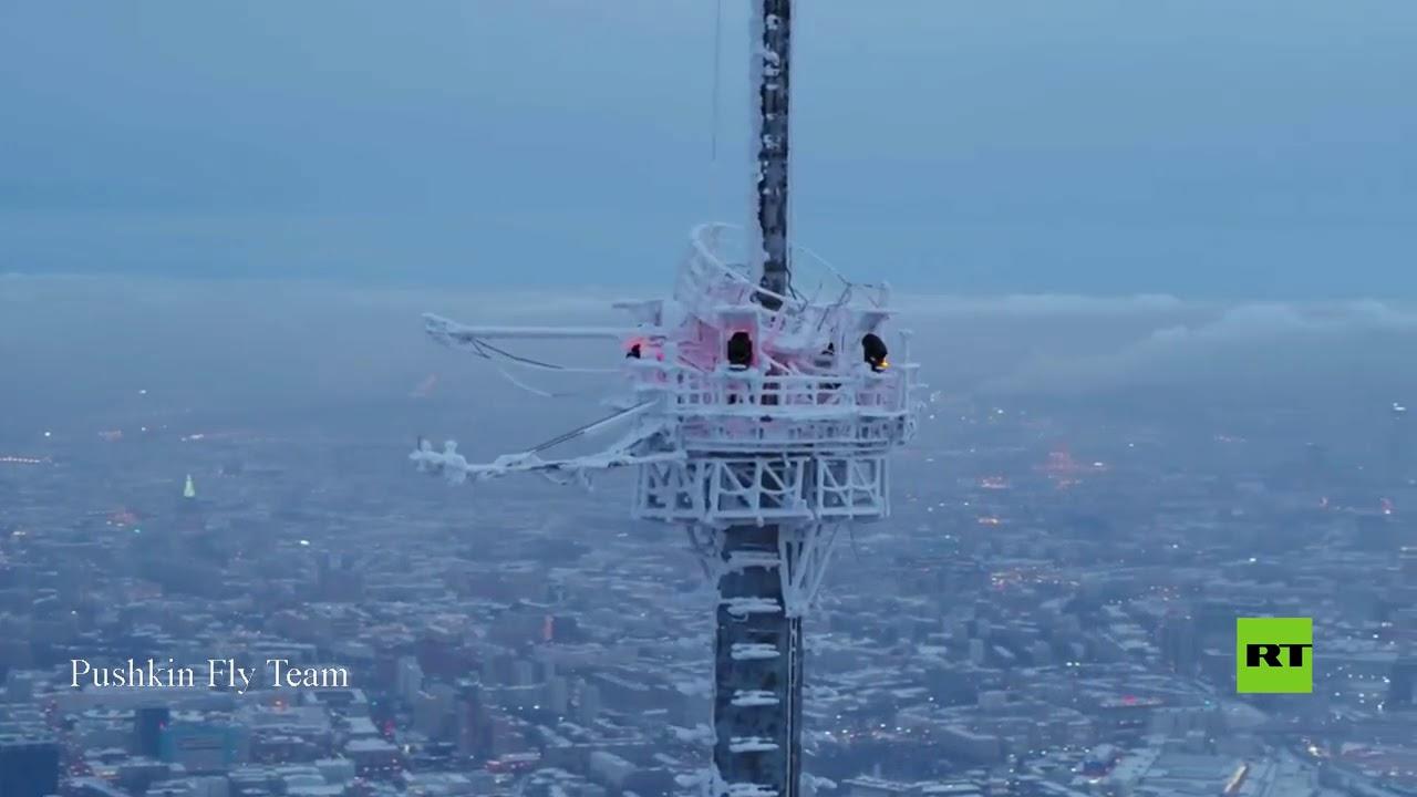 تصوير جوي.. برج أستانكينو التلفزيوني مغطى بثلوج وجليد بسبب الصقيع  - نشر قبل 4 ساعة