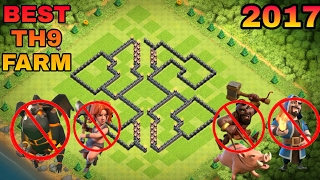 Clash Of Clans | No.1 BEST TH9  FARMING BASE 2017 + PROOF | CoC NEW Th9 Base With  Bomb Tower
