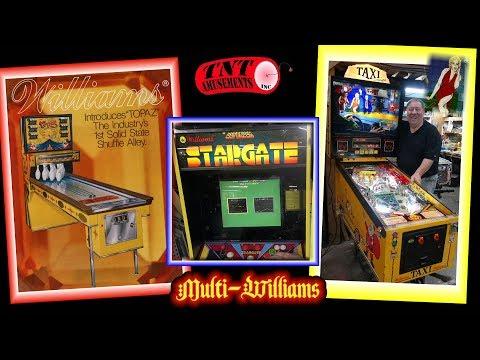 #1391 Williams Marilyn Monroe TAXI, Pinball-TOPAZ Shuffle Alley- STARGATE Multicade! TNT Amusements