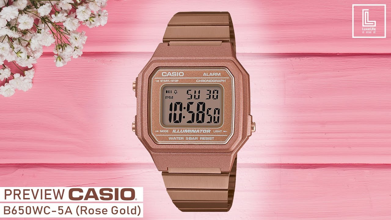 Preview นาฬิกาข้อมือ Casio Standard Retro Design รุ่น B650WC-5A (Rose Gold)
