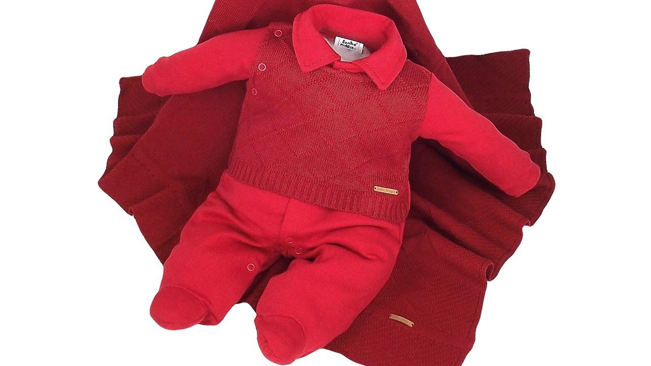 19ee37174c228 Saída de Maternidade Sonho Mágico Vermelho Masculino Tricot Luxo ...