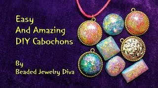 DIY Cabochons - Dichroic Look - Nail Polish Jewelry