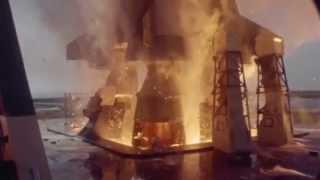 Lancement de la fusée Saturn V d'Apollo 11 au ralenti