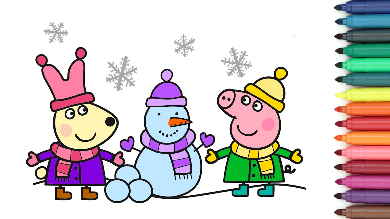 Peppa Pig Rebecca Rabbit Snowman Coloring Page For