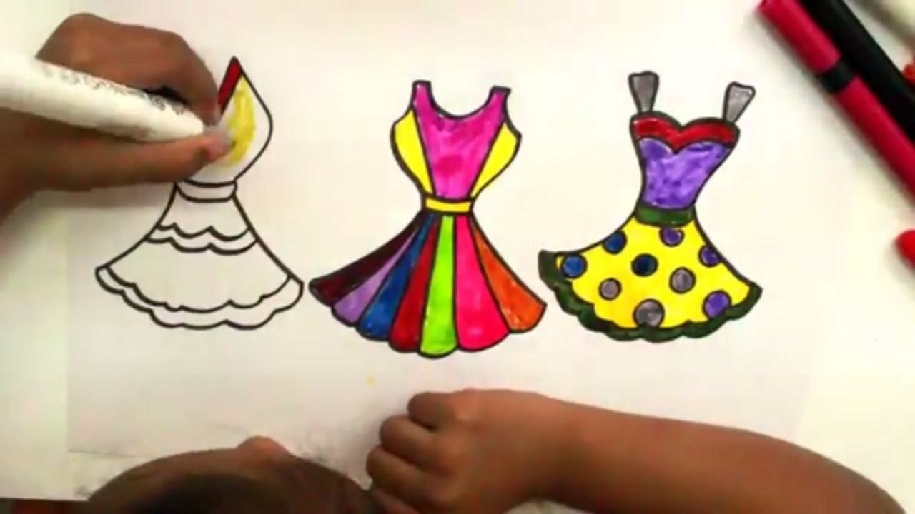 Colouring Pages Dresses How To Draw Clothes For Girls Art Colors For Kids Youtube