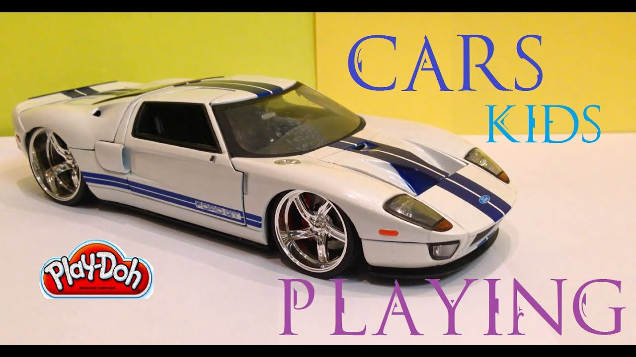 kids playing cars toys funny cars and play doh
