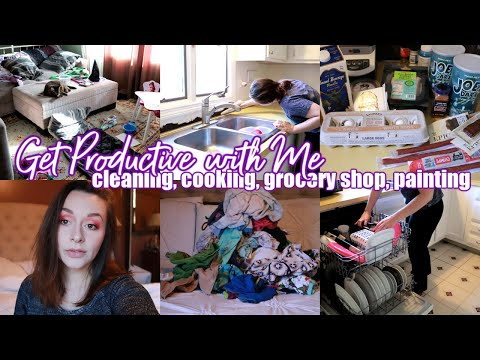 GET PRODUCTIVE WITH ME | CLEANING, COOKING, GROCERY SHOP, PAINTING | GET IT ALL DONE | MOM LIFE 2019 thumbnail