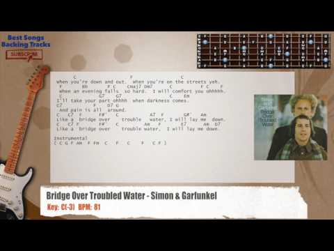 Bridge Over Troubled Water - Simon & Garfunkel Guitar Backing Track with chords and lyrics