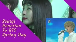 Red Velvet Seulgi Reaction to BTS (방탄소년단) Spring Day at GDA 180110 / 레드벨벳 슬기 HD Fancam
