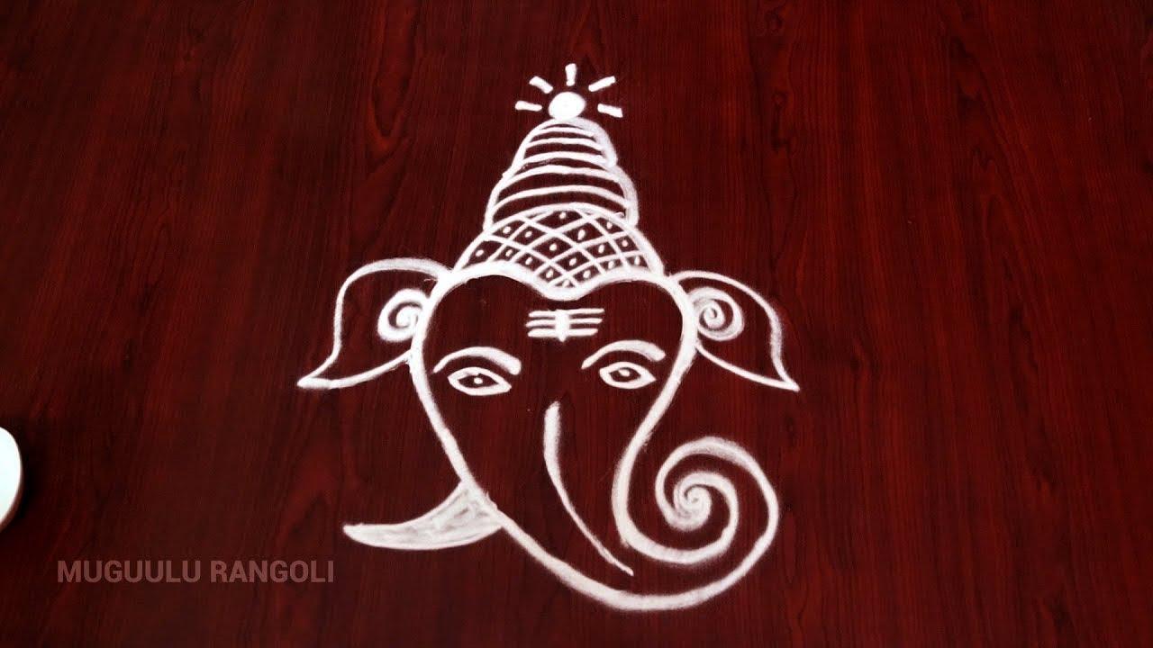 ba75e0ae9 Easy leaf ganesha rangoli || Ganesha Rangoli || Ganapati special rangoli || Ganpati  Rangoli design