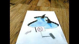 How to draw 3d Sharks - 3d trick art on paper - Art Maker Akshay