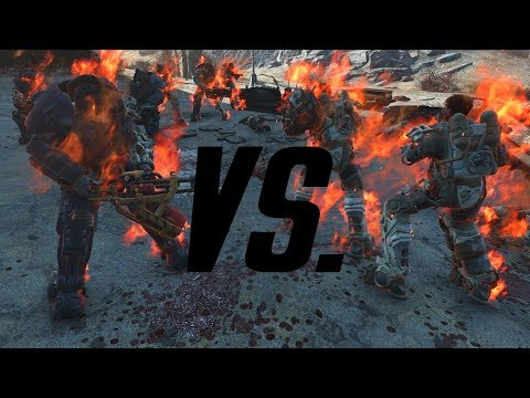 Fallout 4 A.I. Battle - Enclave Soldiers Vs. Power Armor Raiders