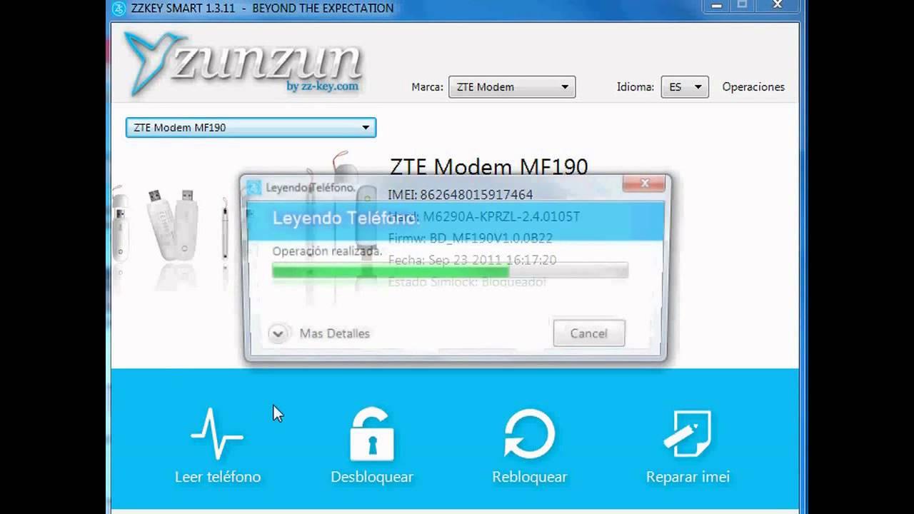 Liberacion Unlock Modem ZTE MF190 con ZZ-KEY
