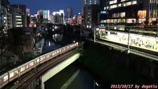 japan trip 2013 tokyo trains run night view jr chūō sōbu tokyo metro marunouchi line 06