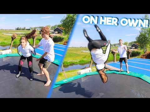 TEACHING MY SISTER HOW TO BACKFLIP! thumbnail