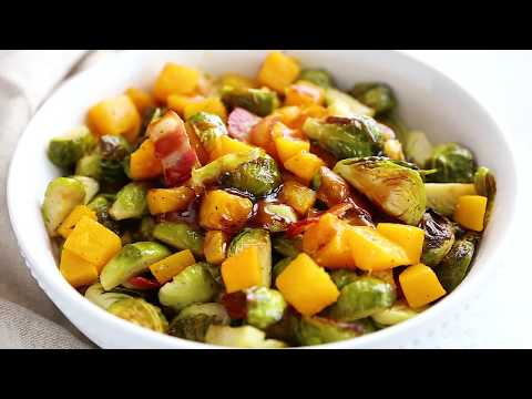 Roasted Brussels Sprouts and Butternut Squash with Bacon and Maple Soy Glaze