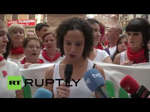 Spain: Thousands protest sexual assaults at Pamplona bull-running festival