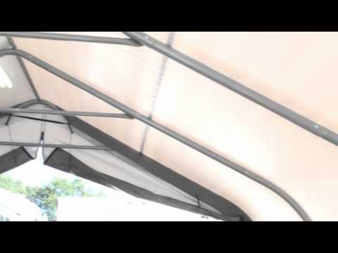 Two-car Portable Garage (18' wide frame) - YouTube