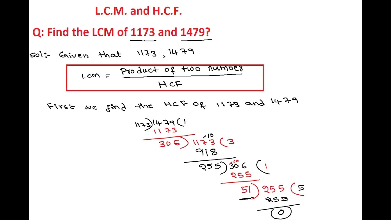 Worksheet Lcm Question lcm and hcf 7 find the of 1173 1479 questions answers