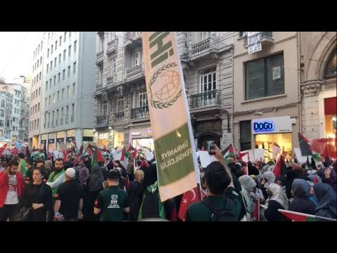 Cell Phone Video: Pro-Palestine Protests in Istanbul, Turkey