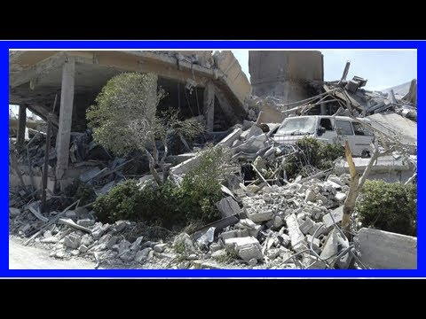 First look at burning remains of Syrian chemical lab after airstrikes