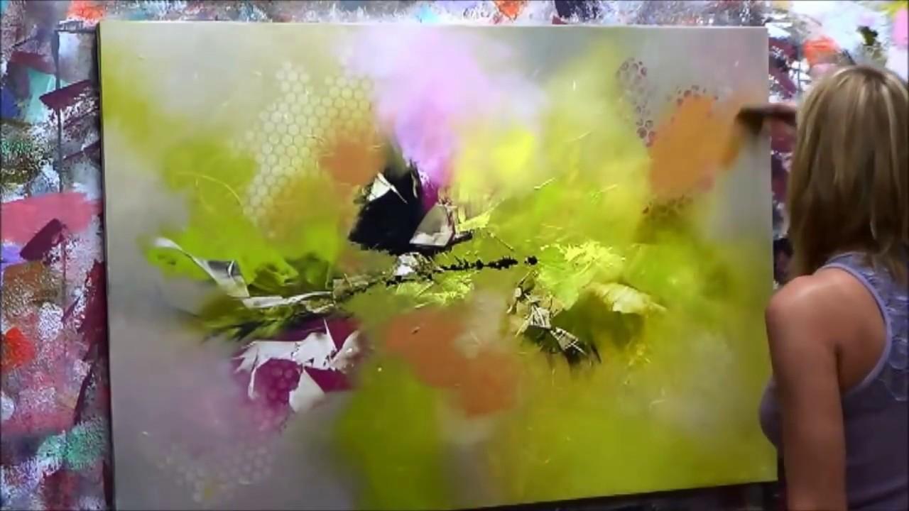 d monstration de peinture abstraite elisabeth toile emotion youtube. Black Bedroom Furniture Sets. Home Design Ideas