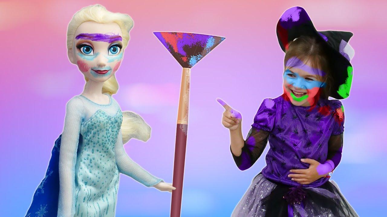 Макияж для Эльзы Холодное сердце - Игры мультики для девочек в Салон красоты для кукол