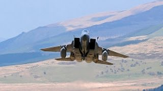 """Mach loop - low level -  Awesome USAF F15 Eagle """"Grim Reapers"""" show of force."""