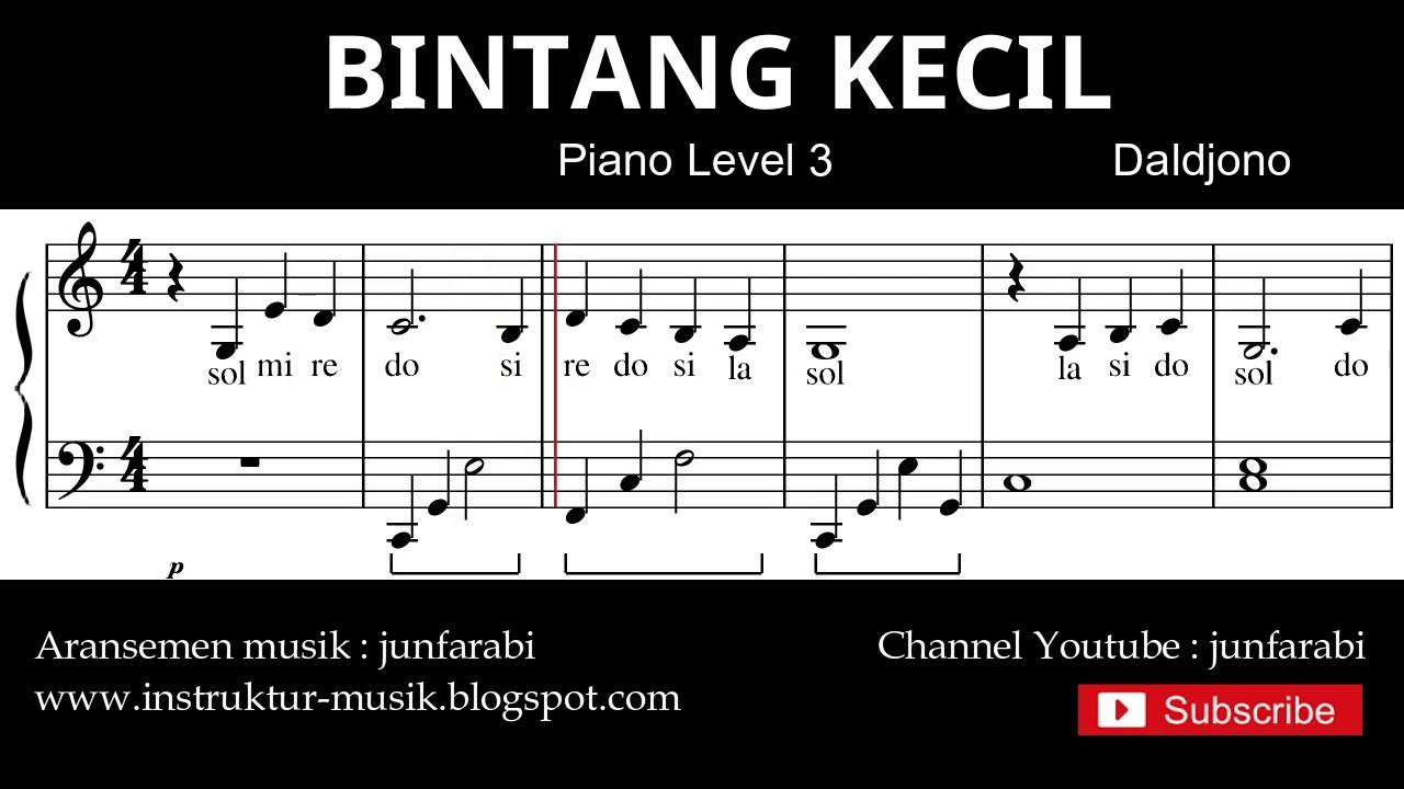 Notasi Balok Bintang Kecil Tutorial Piano Level 3 Not Lagu Anak Indonesia Instrumentalia Youtube