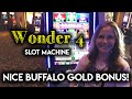 Wonder 4 Buffalo Gold Slot Machine! Nice BONUS Lots of ReTriggers!